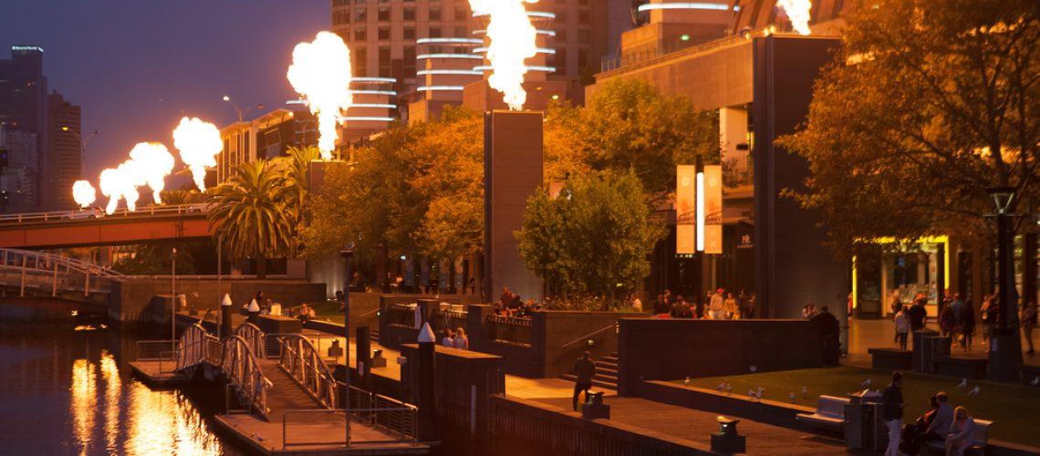 Melbourne,Cbd,-,Apr,16,2016:,Crown,Casino,Fire,Show