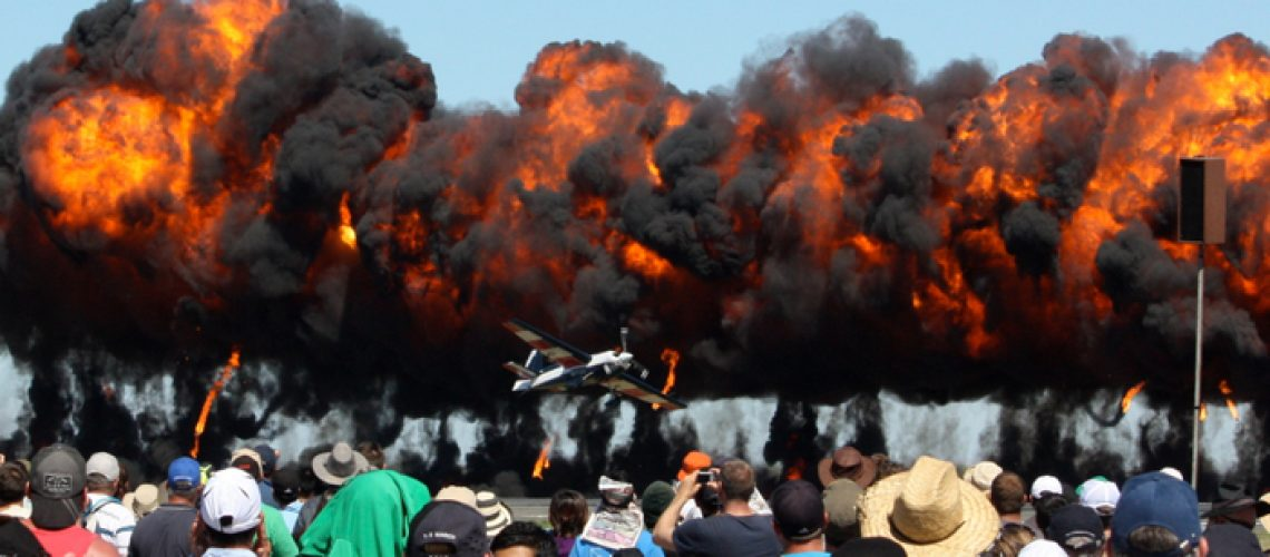 Aircraft,Acrobatics,With,Simulated,Explosions,At,The,Avalon,Airshow,,Geelong,