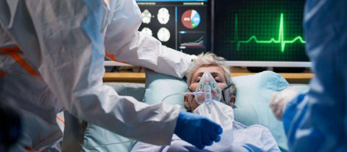 Infected,Patient,In,Quarantine,Lying,In,Bed,In,Hospital,,Coronavirus