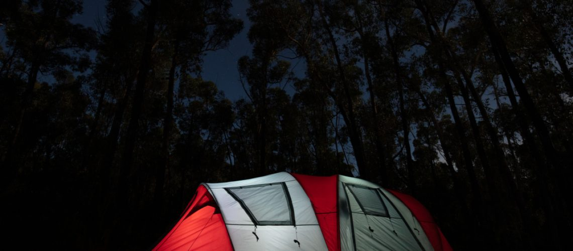 Camping,In,The,Campground,At,Night,On,A,Cool,Autumn