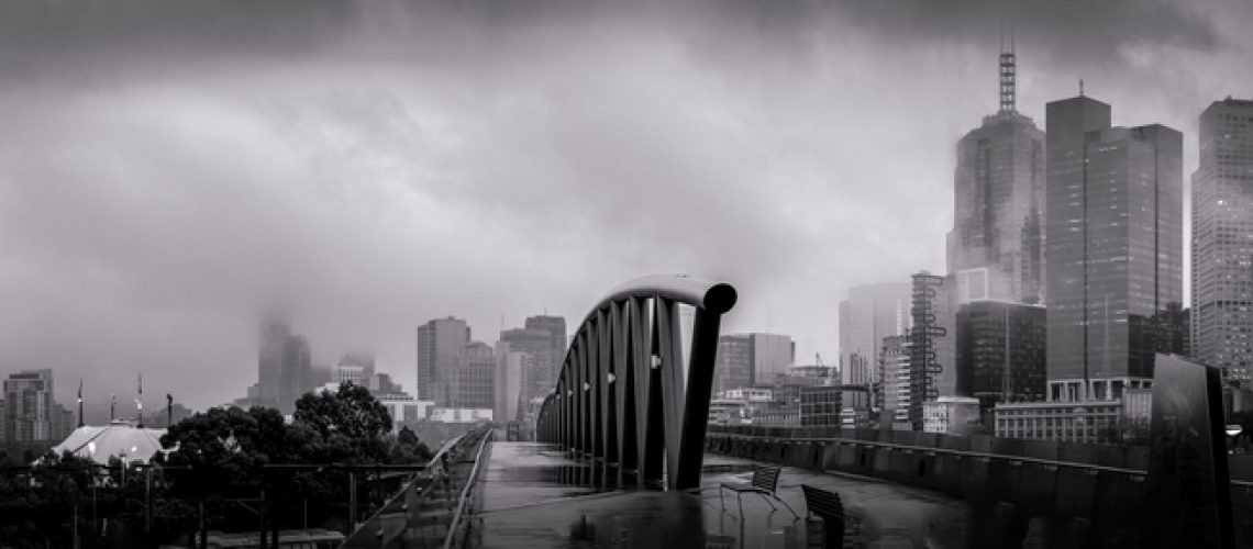 Panorama,Of,Melbourne,Of,A,Cold,Winter,Morning,Loking,Over